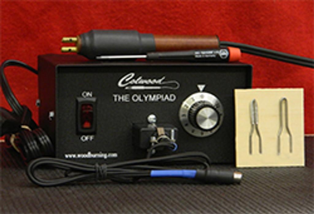 Olympiad Woodburning Unit with Hot Knife, 2 Hot Knife tips, Ultra-flex 18 gauge cord.