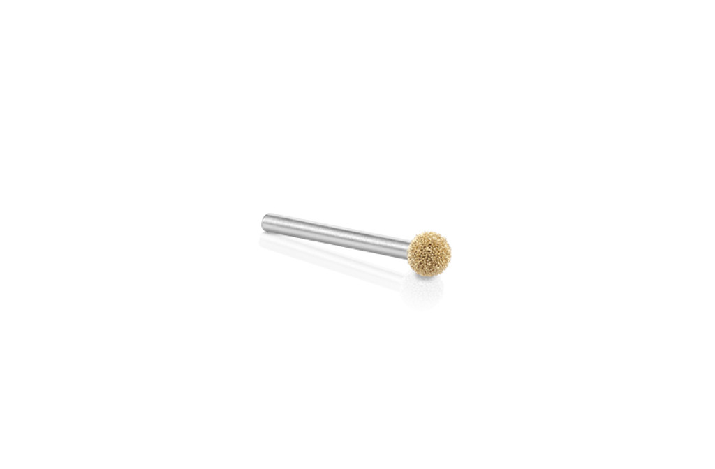 "Kutzall Fine 1/4"" Sphere Burr has a 1/4"" diameter ball head with a 1/8"" shank.  The burr is gold representing the fine line of original Kutzall burrs."