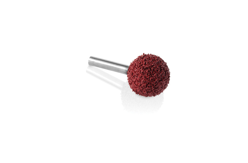 """Kutzall Grit 1"""" Sphere Burr that has a 1"""" diameter cutting head with a 1/4"""" shank and is red in color which represents the grit line of Kutzall Burrs."""
