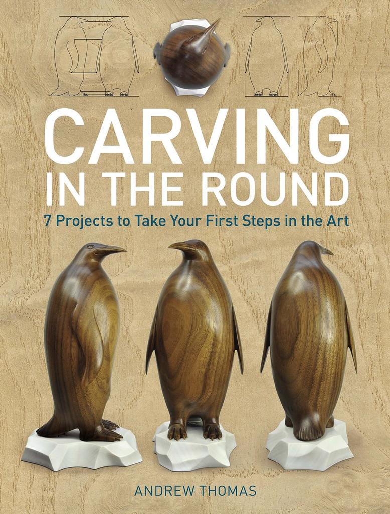 Carving in the Round: 7 projects to take your first step in art book showing the cover with three penguins.