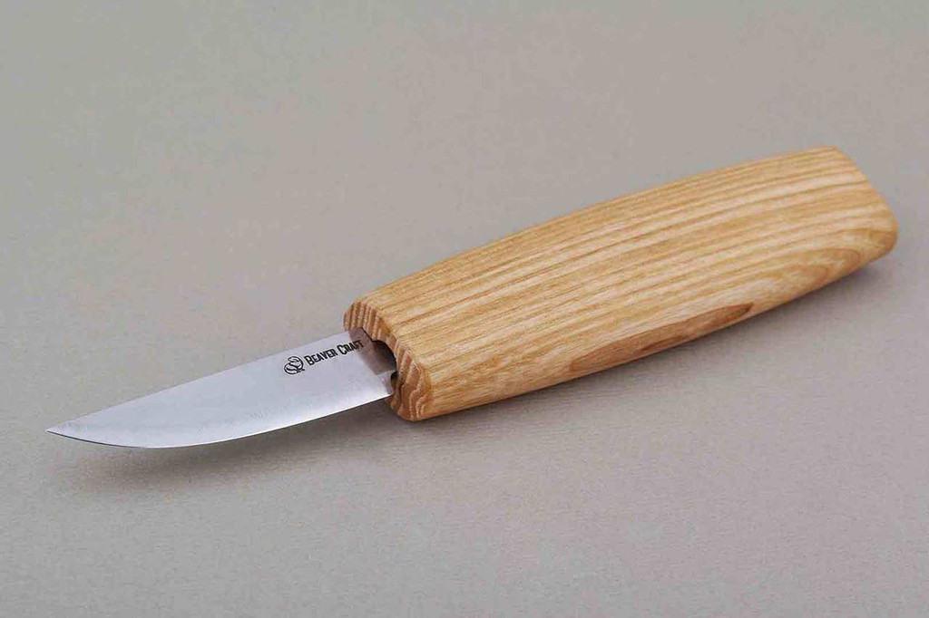 Beaver Craft Small Whittling Knife with ash handle.