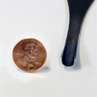 "Flexcut FR408 Palm Carving #11 x 1/4"" Gouge next to a penny to show oyu the size of the gouge."