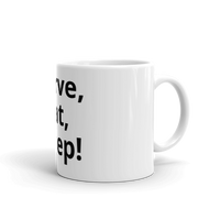 Carve, Eat, Sleep Coffee mug that is white with black letters side view.