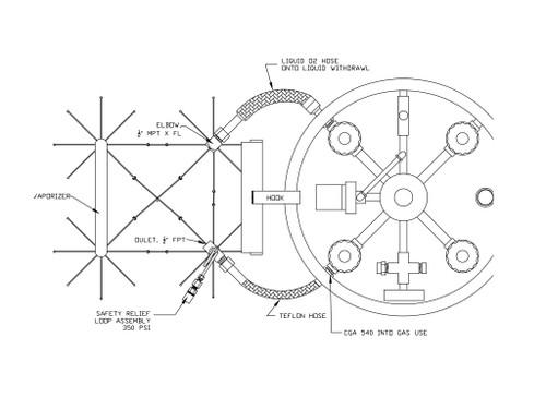 SOS-1000 Vaporizer, Liquid Can, 1000 scfh, LOX/LIN/LAR