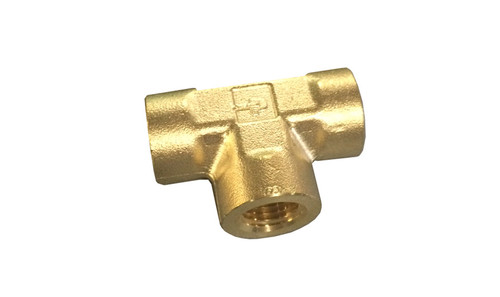 "Tee, 1/4"" FPT, Brass, 3000 PSI"