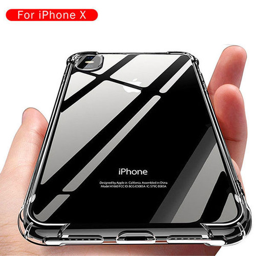 iPhone X Shockproof Slim Soft Bumper Hard Back Case Cover Clear