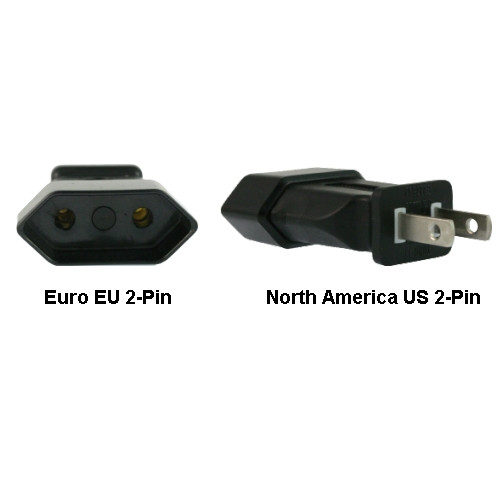 Euro EU to US 2-Pin Power Plug Adapter