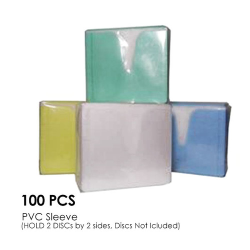 CD-DVD Colour PVC Sleeve Hold 2 Disc (Double Sided / 100PCS/Pack)