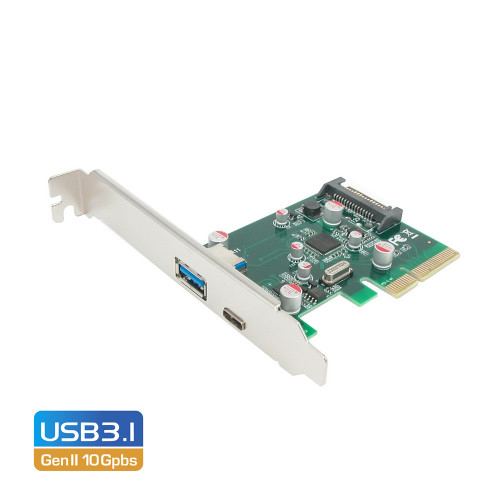 Simplecom EC312 PCI-E 2.0 x4 to 2 Port USB 3.1 Gen II 10Gpbs Type-C and Type-A Card