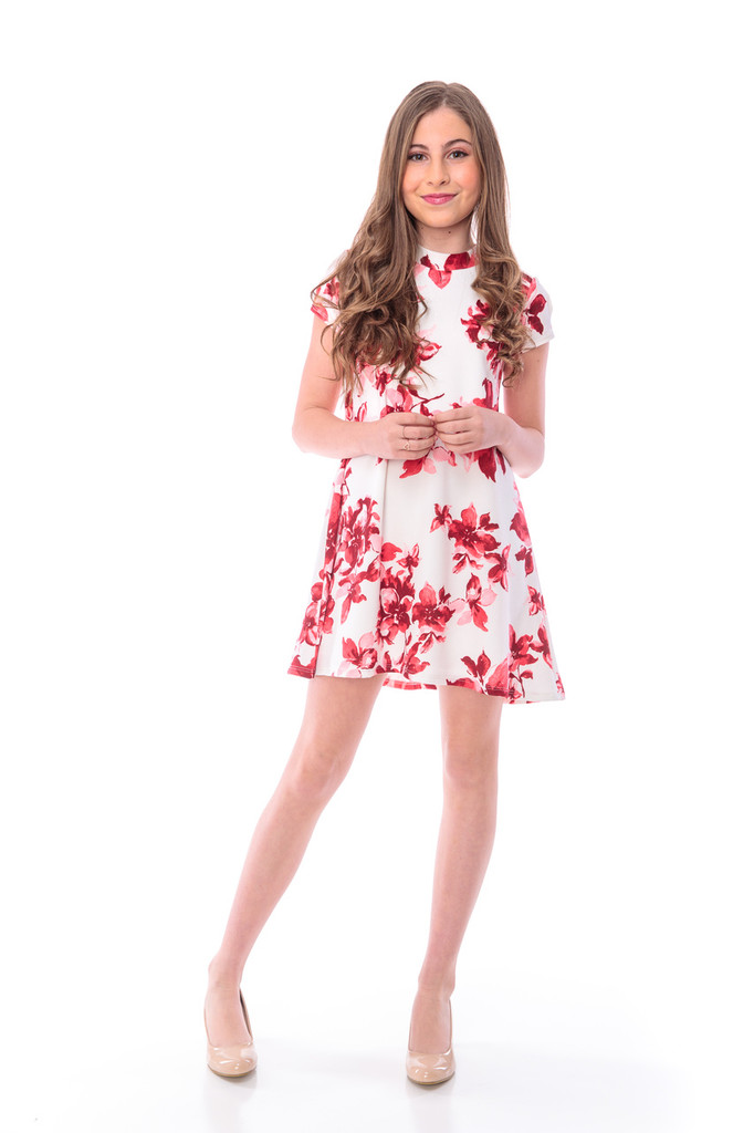 Red and White Floral A-Line Dress