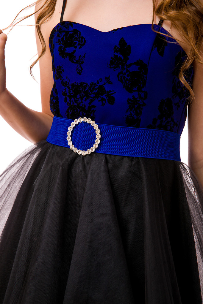 Elastic Banded Belt with Buckle in Cobalt Blue