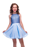 Sequin and Satin Racer Back Dress in Blue