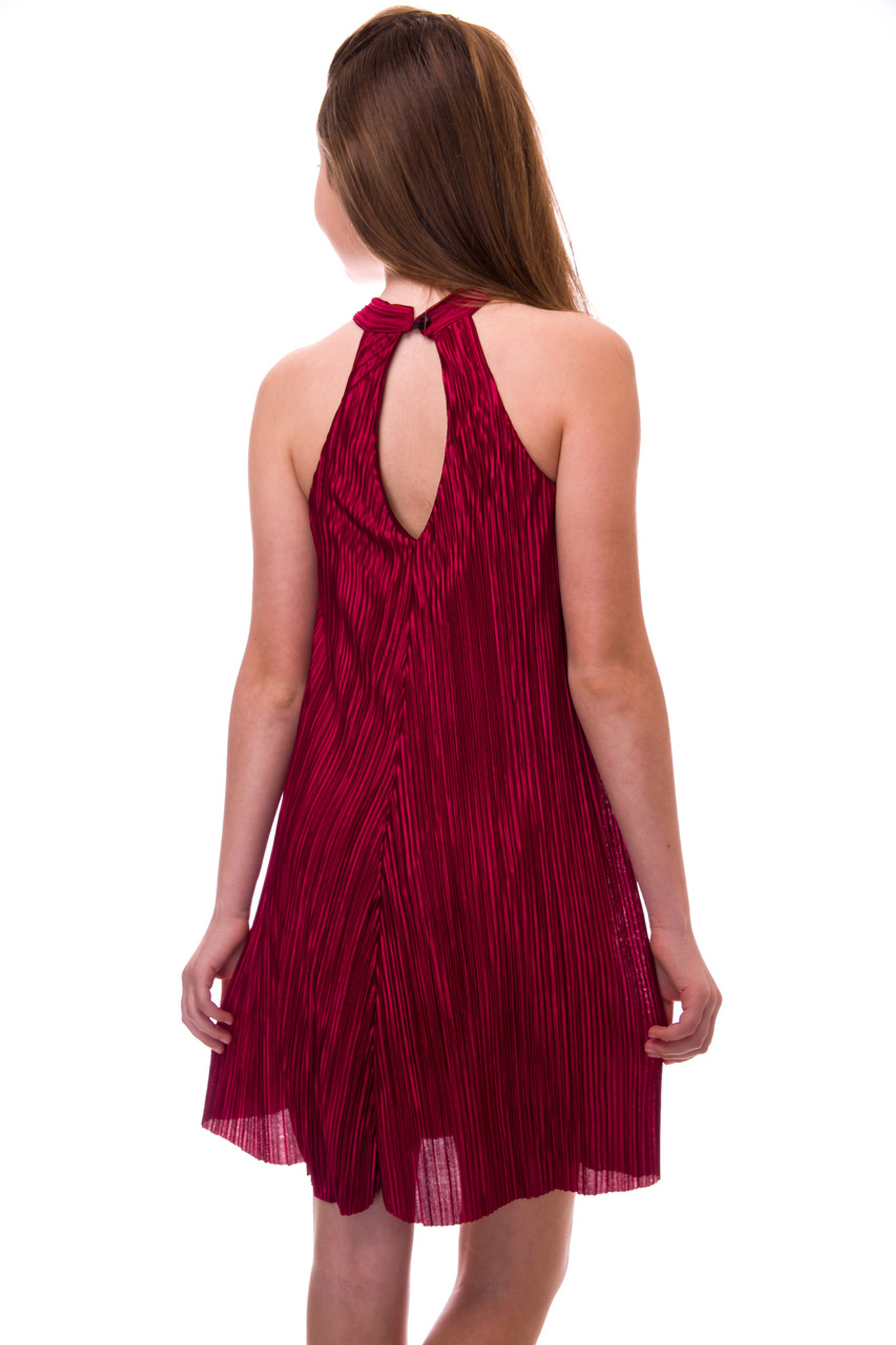Pleated Halter Dress with Open Back Detail