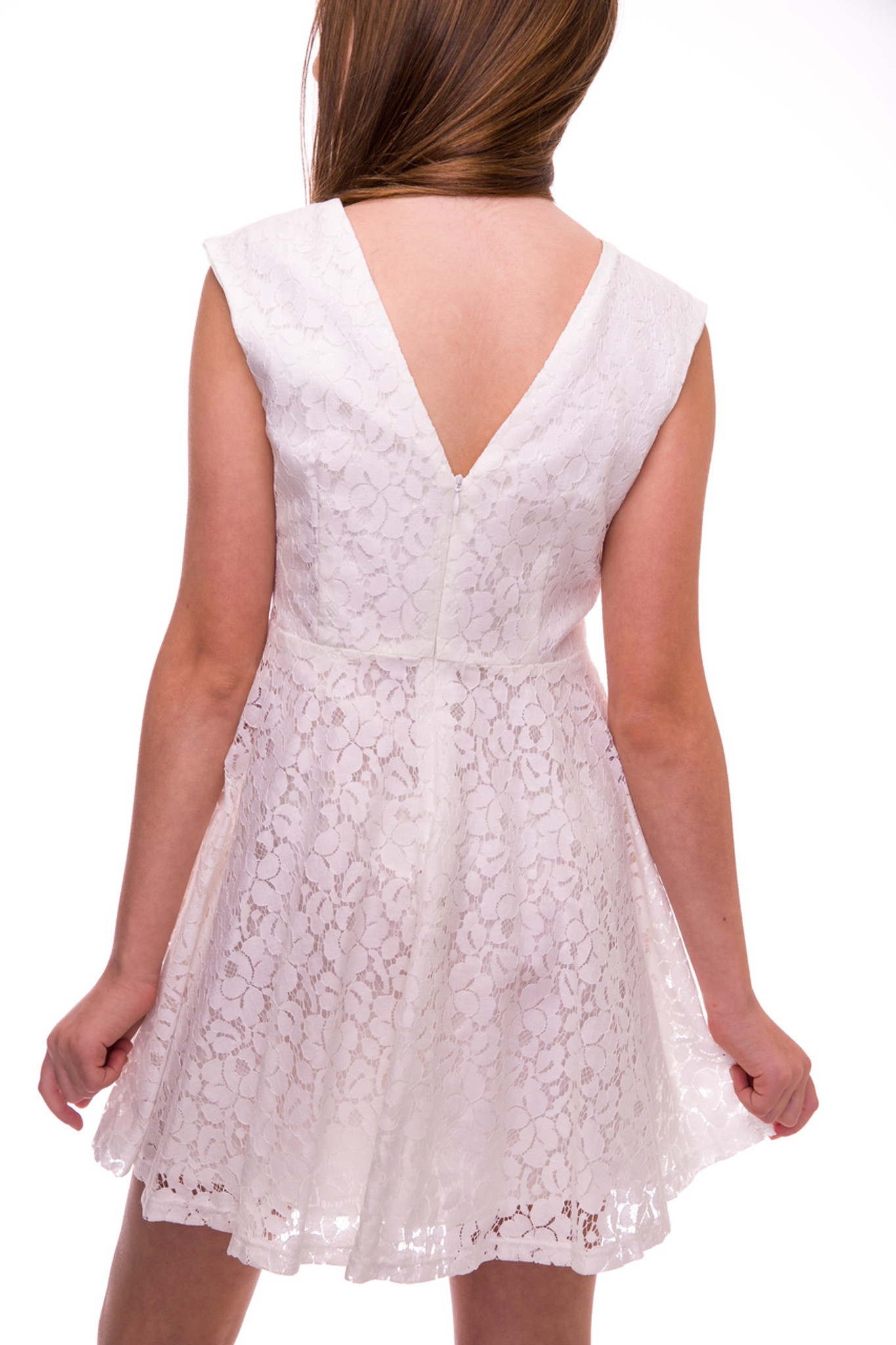 Ivory Lace Dress with V-Back Detail