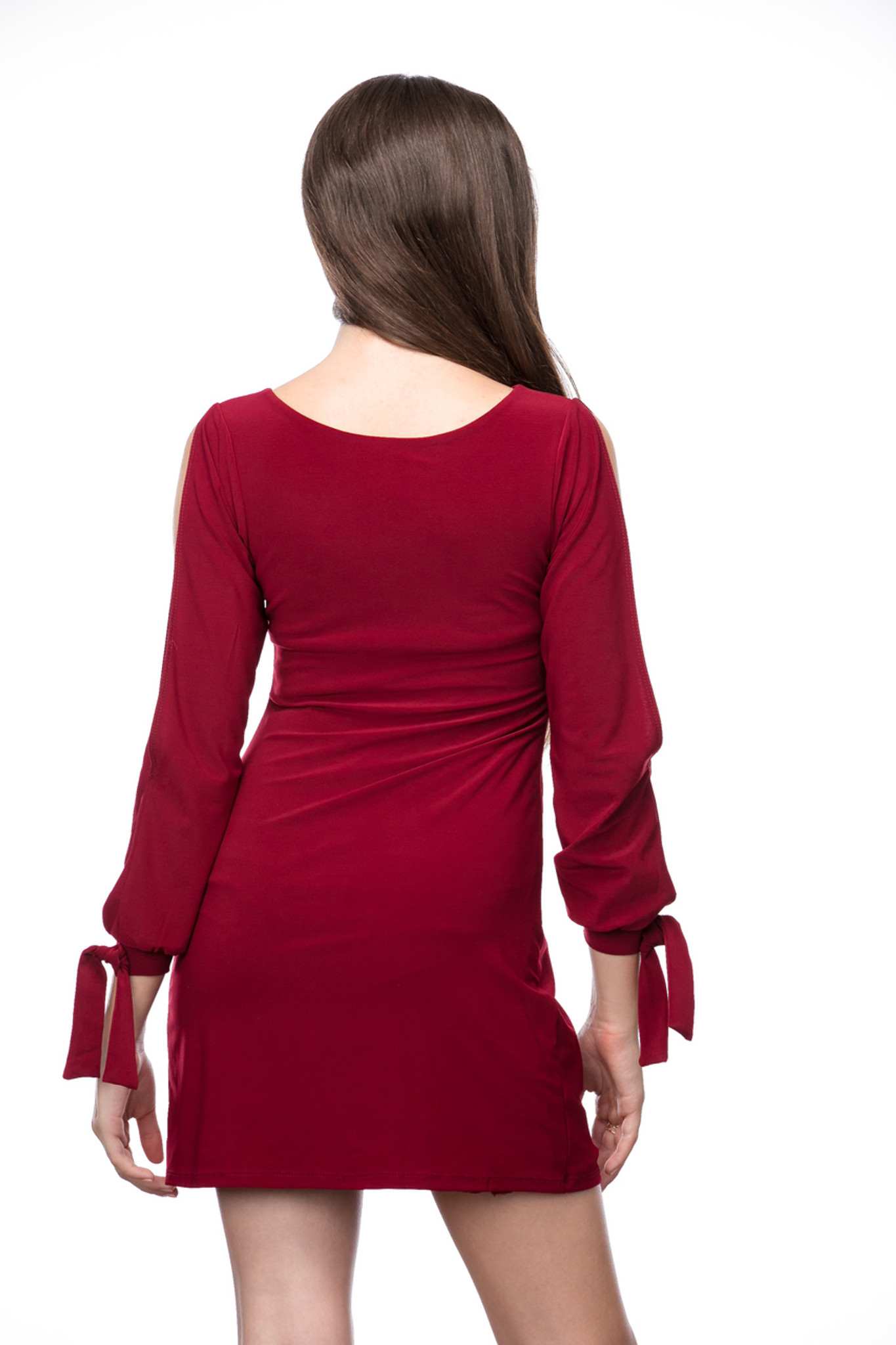 Fitted Long Sleeve Dress with Knot Detail in Burgundy