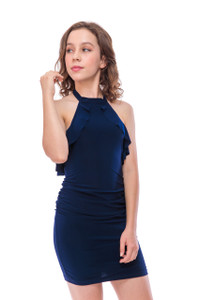 Ruched Halter Dress with Ruffle Detailing in Navy