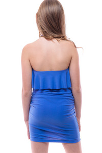 Ruched Halter Dress with Ruffle Detailing in Peri