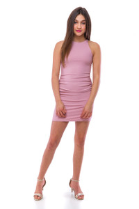 Ribbed and Ruched Bodycon Dress in Mauve Pink