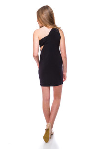 Asymmetrical Fitted Black Dress