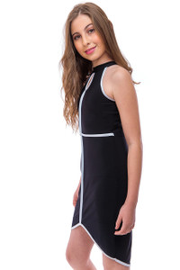 High Neck Dress with White Piping Detail