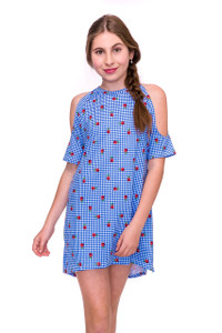 Cold Shoulder Checker Dress with Roses