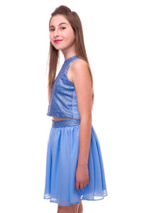 Chiffon High Waisted Skirt with Sequin Detail in Blue