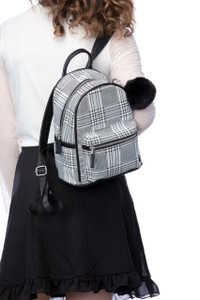 Back-to-School Plaid Backpack with Keychain
