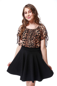 Chiffon Cold Shoulder Knotted Top in Cheetah