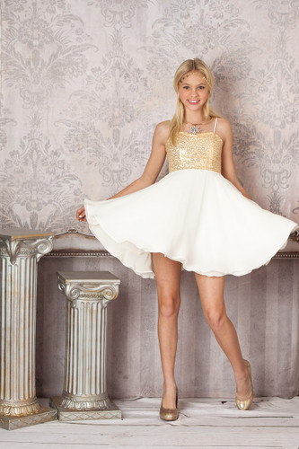 Gold Sequin and Ivory Party Dress (T3205K-Gold/Ivory)