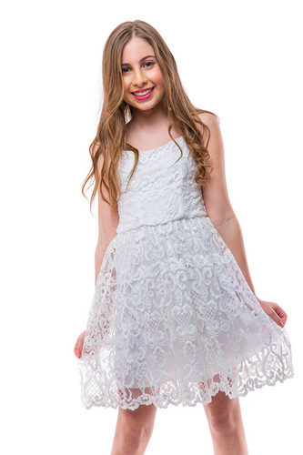 All Over Lace Dress in White