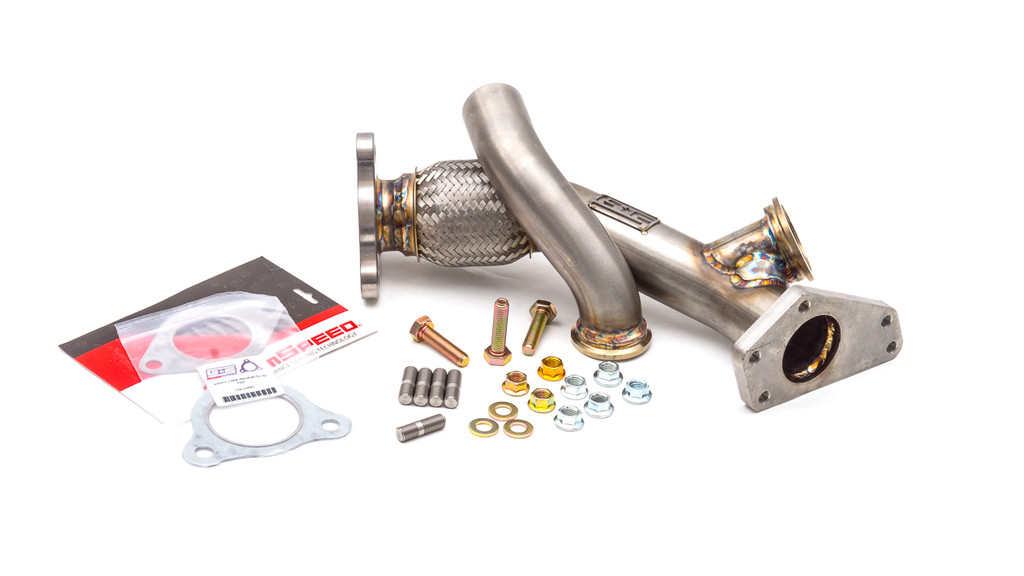 External Wastegate Up Pipe w/ Dump Tube 3-Bolt Inlet, 44/45mm V-Band WRX/STI/LGT/FXT