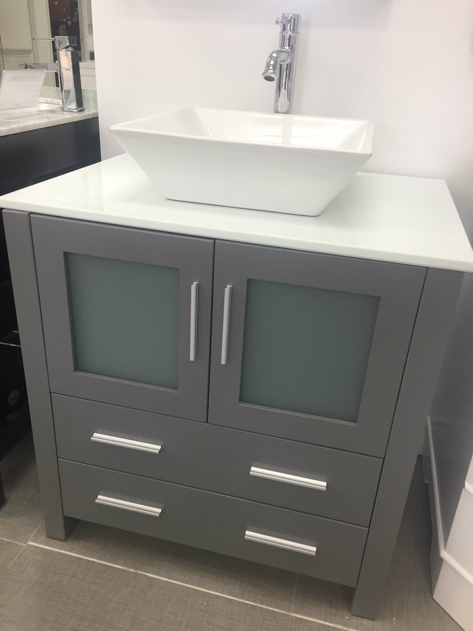 "vaughn 28"" bathroom vanity ice grey - york taps 28 Bathroom Vanity"