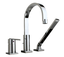 Rubi Viso 3-hole deck mounted bath faucet with handheld shower