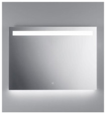 "Illusion illuminated LED mirror with frosted horizontal stripe backlit bottom 39 1/2"" x 27 1/2"""