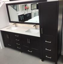 """Armada 90"""" Bathroom Vanity & Side Cabinet Tower Espresso"""