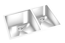 "GEM DOUBLE KITCHEN SQUARE SINK UNDERMOUNT 27"" x 18"""