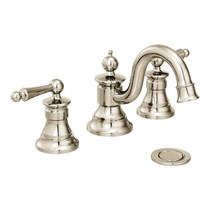 Moen Waterhill Two-Handle High Arc Bathroom Faucet Polished Nickel Finish