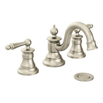 Moen Waterhill Two-Handle High Arc Bathroom Faucet Brushed Nickel Finish