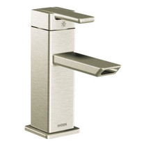 Moen 90 Degree Chrome One-Handle Low Arc Bathroom Faucet Brushed Nickel Finish