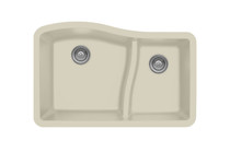 "Karren Double Bowl Undermount Kitchen Sink Bisque Finish 32""x 21"" QU-630"