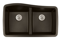 "Karran Double Equal Bowl Undermount Kitchen Sink Brown Finish 33-1/2"" x 20-1/2"""