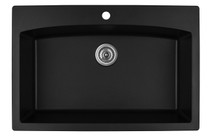 "Karran Extra Large Single Bowl Top Mount Kitchen Sink Black Finish 33""x 22"" QT-712"
