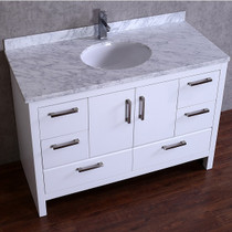 "Sydney 48"" Bathroom Vanity White With Marble Top"