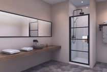 Zitta Materia Alcove 1 Shower Door Black 32""