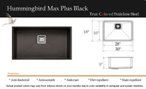 "Castle Bay Hummingbird Max Plus 30"" x 18"" x 9"" Kitchen Sink Black Finish"