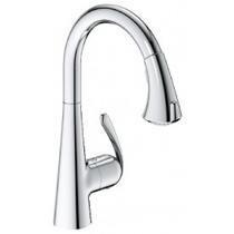 Grohe LadyLux3 Cafe Locking Dual-Spray Kitchen Faucet With Pull-Down Spout Chrome