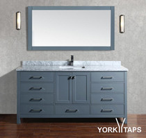 "Sandy 72"" Vanity Single Sink Ice Grey Marble Top"
