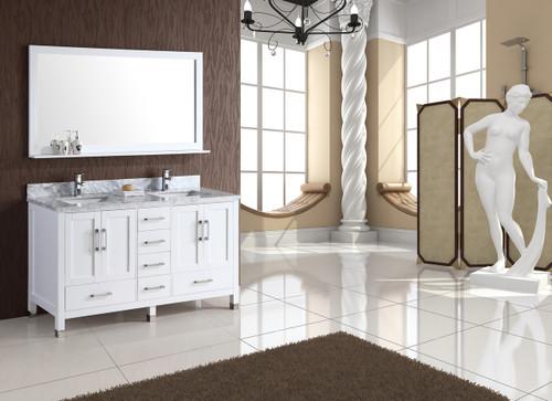 "Armada 60"" White Double Sink Bathroom Vanity"