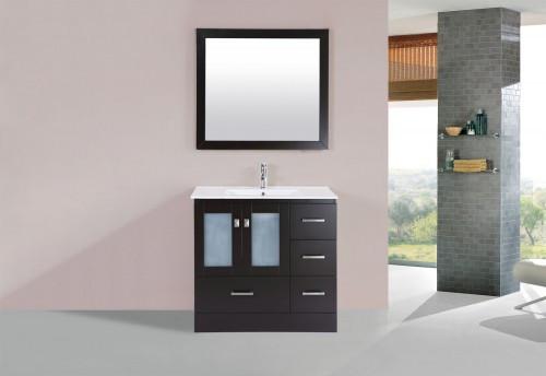 "Hamilton 36"" Espresso Single Modern Bathroom Vanity with Integrated Sink - Right"