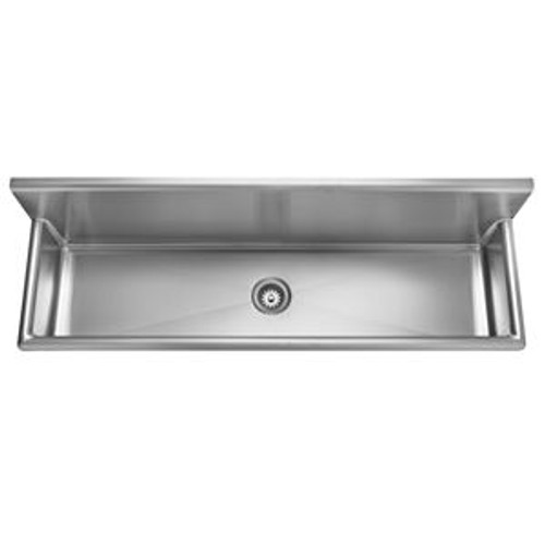 """Kindred WTS72-1 Single Bowl Wall Mount Trough Sink, No-Hole, 3-1/2"""" Waste, 16 Gauge Stainless Steel, Satin"""